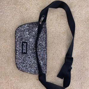 silver PINK glitter fanny pack